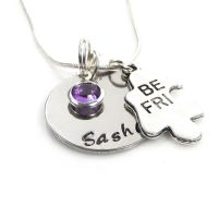 A Pair of Personalised Best Friends Puzzle Necklaces with Birthstone Charms